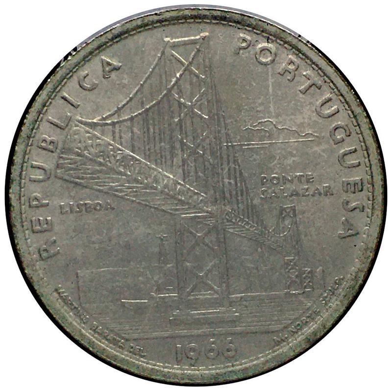 Coin 20 escudos de 1966 (Ponte Salazar) Portugal reverse