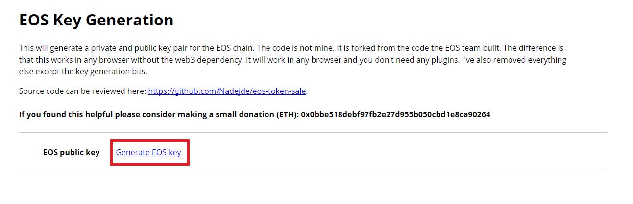 Generate EOS key
