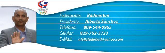 Alberto Sánchez, presidente federación dominicana de bádminton