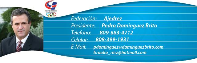 Pedro Dominguez Brito, presidente federación Dominicana de Ajedrez
