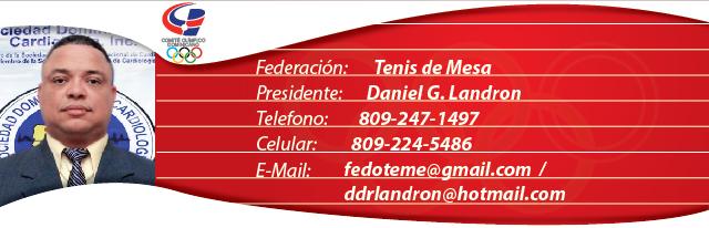 Daniel Landron, presidente de la federacion dominicana de tenis de mesa