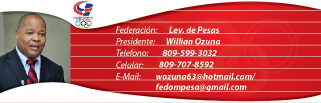 Willian Ozuna, presidente de la federacion dominicana de Lev. de Pesas