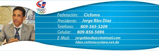 Jorge Blas Diaz, presidente federación dominicana de ciclismo