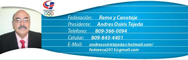Andres Osiris Tejeda, presidente federación dominicana de remo y canotaje