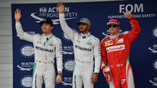 Hamilton logró la pole y largará delante de Rosberg