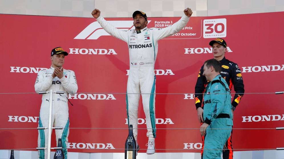 Hamilton conquista el Gran Premio de Japón; se acerca al título