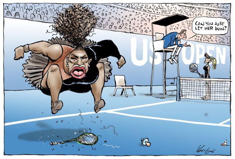 Caricatura de la estrella del tenis Serena Williams no es racista