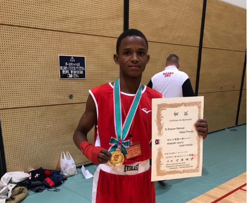 Pugilista juvenil Bryan Mejía obtiene oro en mundial de Japón