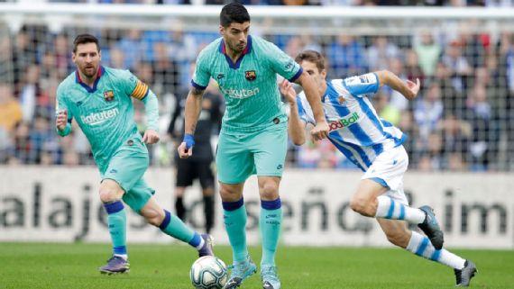 Real Sociedad le responde al Barcelona; empatan a dos en La Liga