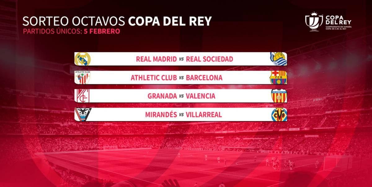 Real Madrid contra Real Sociedad y Athletic enfrenta a Barcelona en Copa del Rey