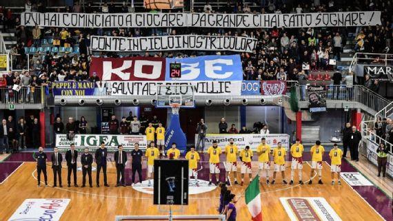 Equipo de baloncesto italiano retira el número de Kobe Bryant
