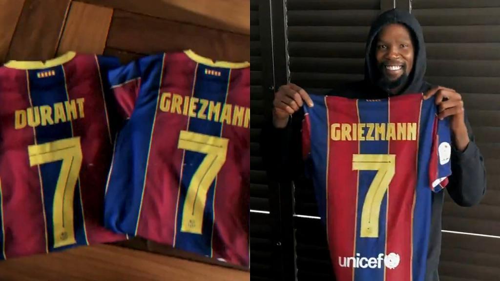 Griezmann presenta el número 7 con ayuda de Kevin Durant