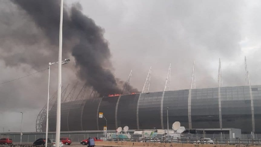 Se incendia estadio brasileño del Mundial 2014