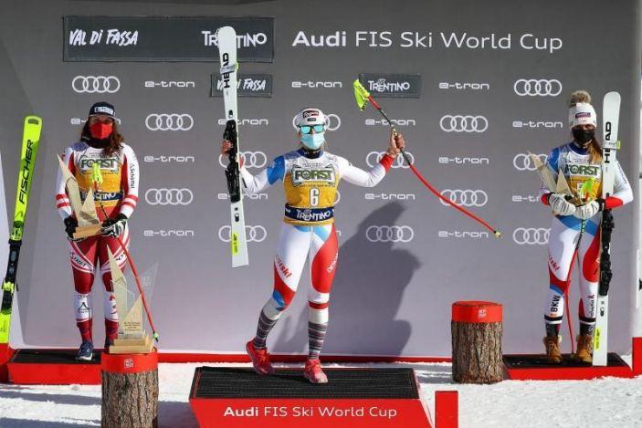 Gut prolonga su racha con triunfo en el descenso de Val di Fassa