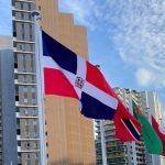 Así se ve la bandera de la República Dominicana en Tokio