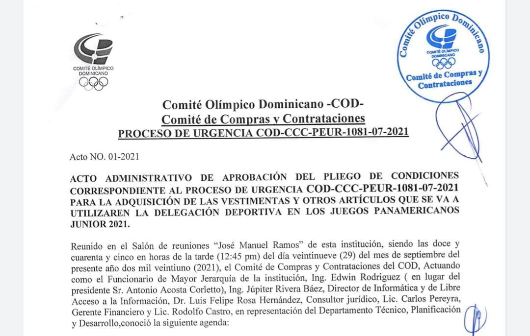 COD llama proceso de urgencia; actualización llamado a licitación pública