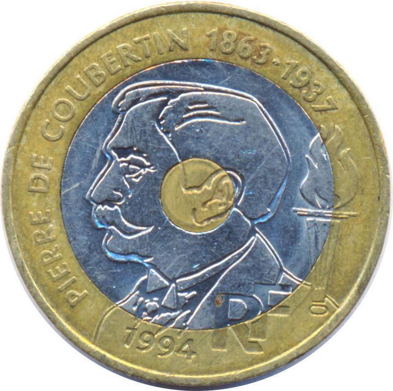 Coin 20 Francs (Pierre de Coubertin) France obverse