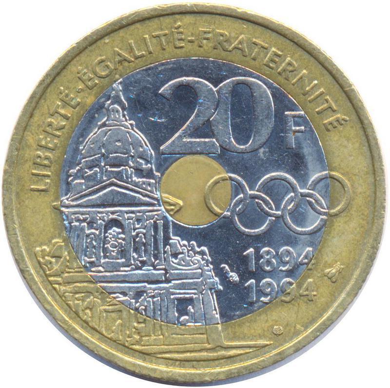 Coin 20 Francs (Pierre de Coubertin) France reverse