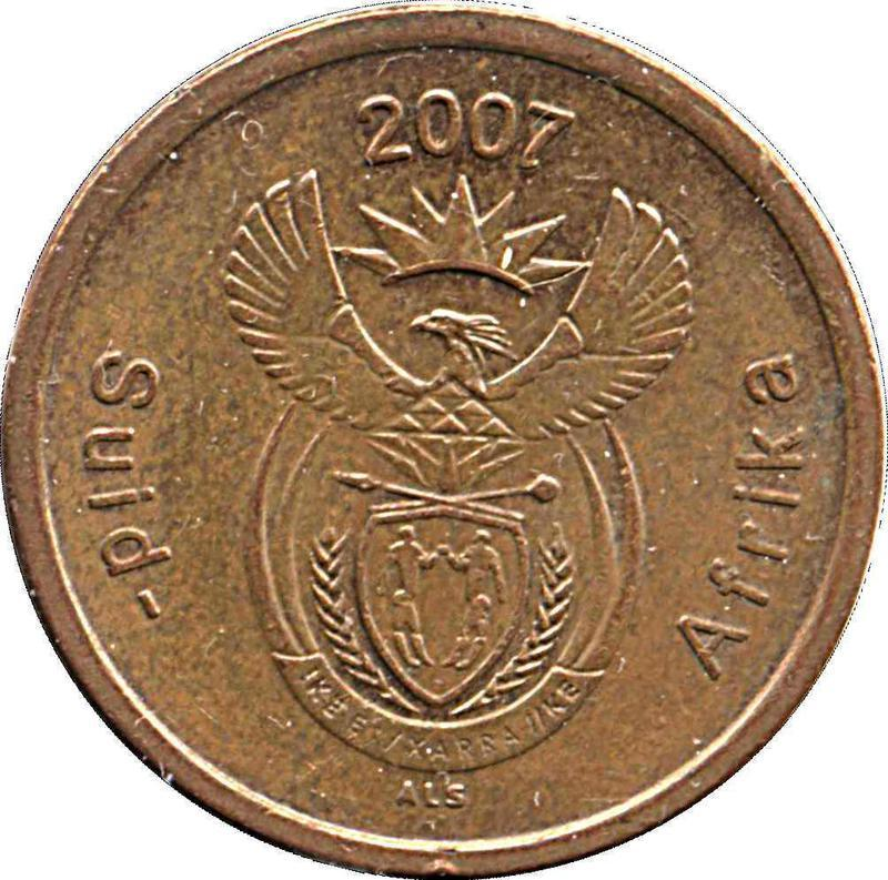 Coin 5 Cents (Afrikaans Legend - Suid-Afrika) South Africa obverse