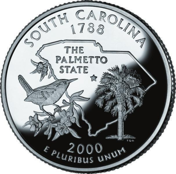 "Coin ¼ Dollar ""Washington Quarter"" (South Carolina - Silver Proof) United States of America reverse"