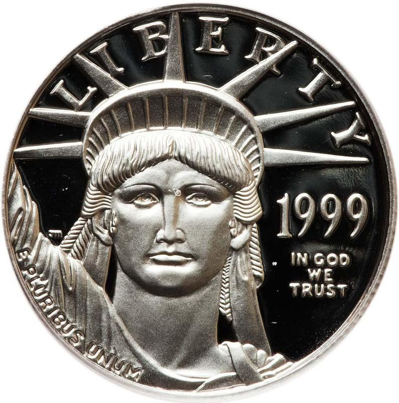 """Coin 50 Dollars """"American Platinum Eagle"""" (Bullion Coinage) United States of America obverse"""