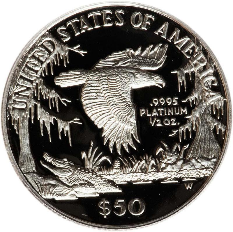 """Coin 50 Dollars """"American Platinum Eagle"""" (Bullion Coinage) United States of America reverse"""