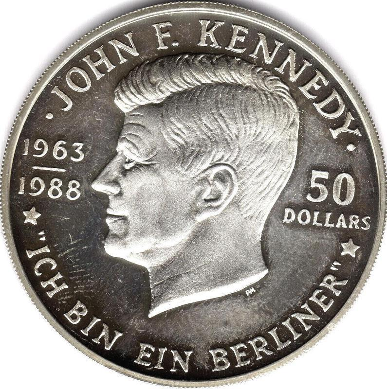 Coin 50 Dollars - Elizabeth II (Death of John F. Kennedy)  reverse