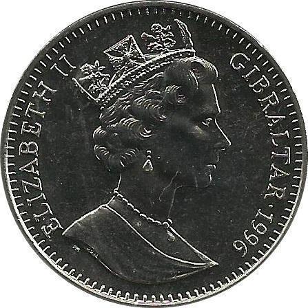Coin 1 Crown - Elizabeth II (Euro Championship) Gibraltar obverse