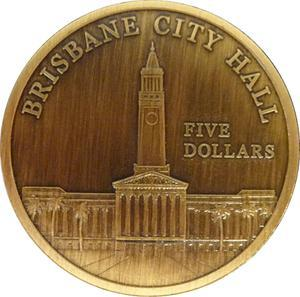 "Coin 5 Dollars - Elizabeth II (""Town Halls"" Brisbane City Hall) Australia reverse"
