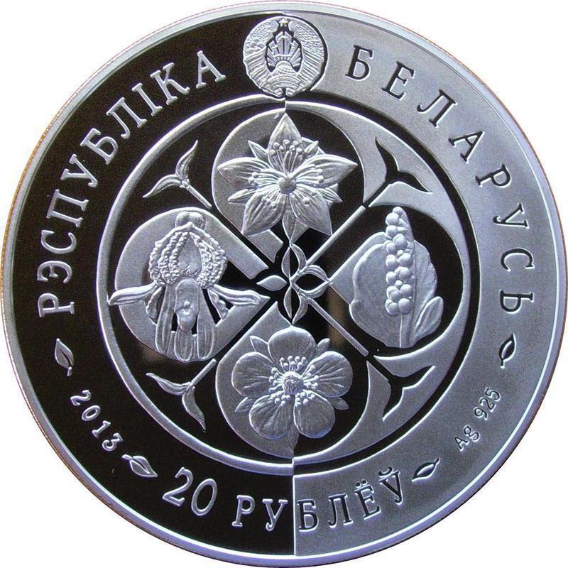 Coin 20 Roubles (Hypericum tetrapterum) Belarus obverse