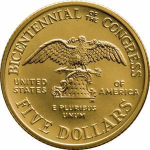 Coin 5 Dollars (Congress Bicentennial)  reverse