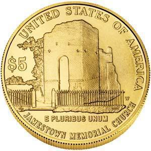 Coin 5 Dollars (Jamestown 400th Anniversary) United States of America reverse