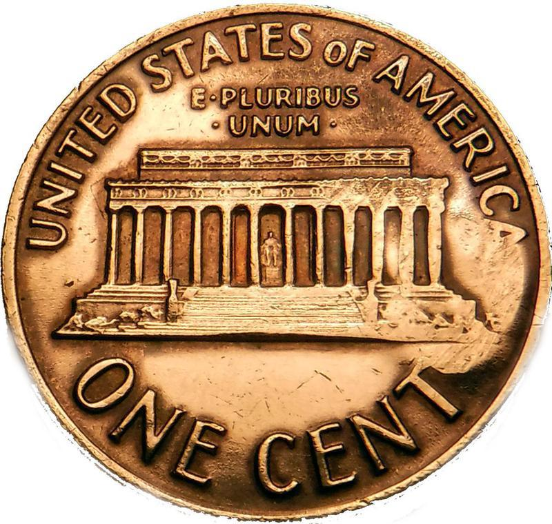 """Coin 1 cent """"Lincoln Memorial"""" (MERRY CHRISTMAS) United States of America reverse"""