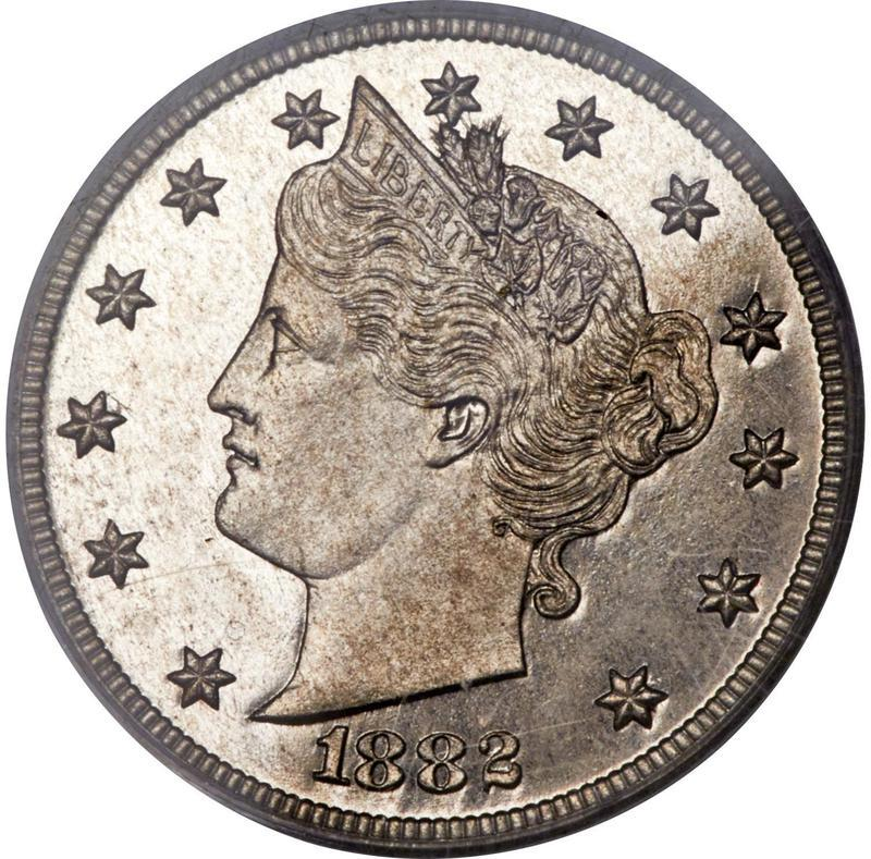 """Coin 5 Cents """"V Nickel"""" (Pattern) United States of America obverse"""