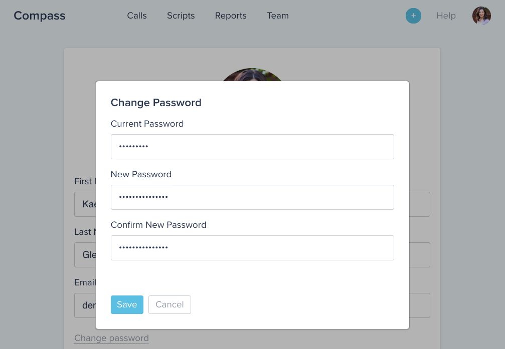 Compass software UI displaying the change password prompt