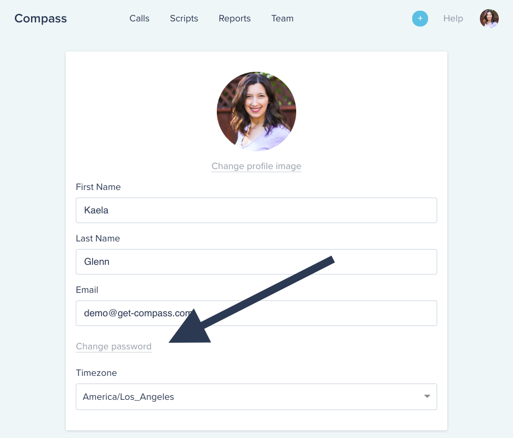 Compass software UI displaying how to find the change password option