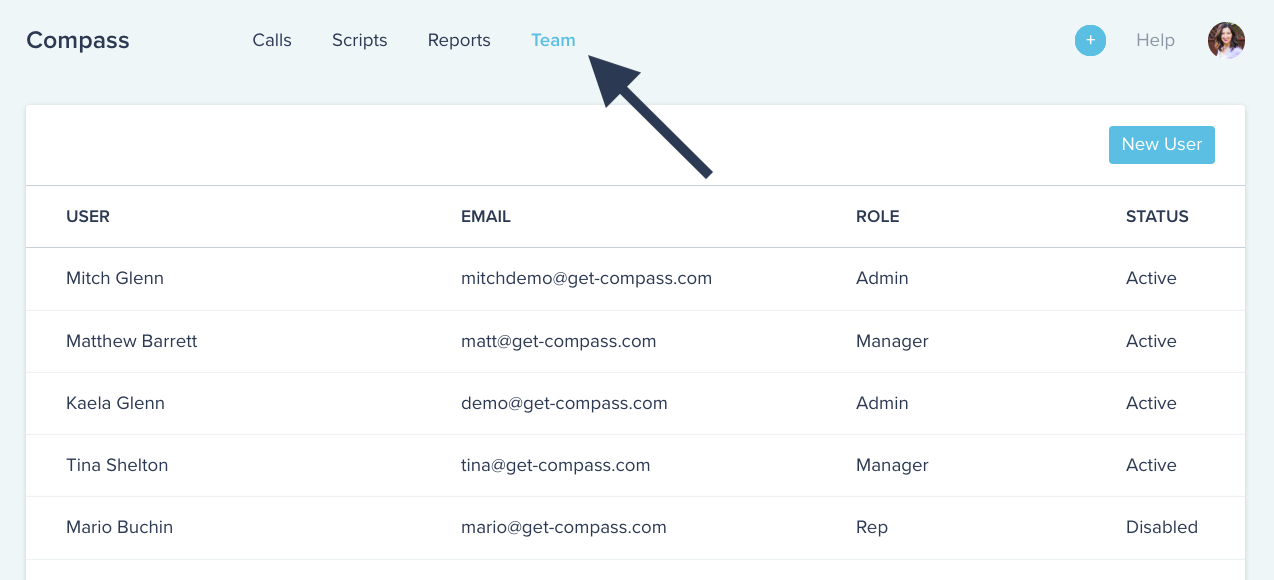 Compass software UI showing how to navigate to the team page
