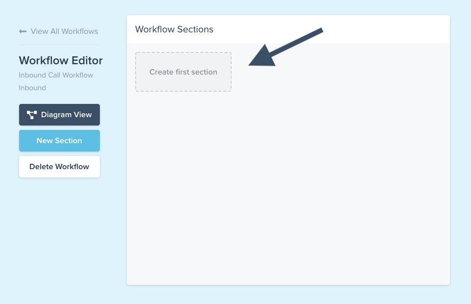 Compass software example shows the placeholder for creating your first workflow section