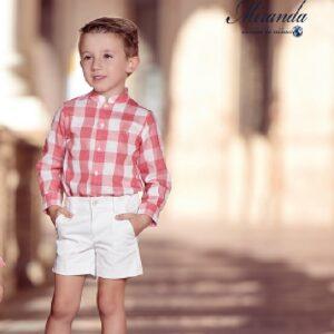 Traje-niño-bermuda-y-camisa-cuadros-coral-Miranda