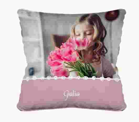 Cuscino Full Foto Cresima Pink - PhotoSì