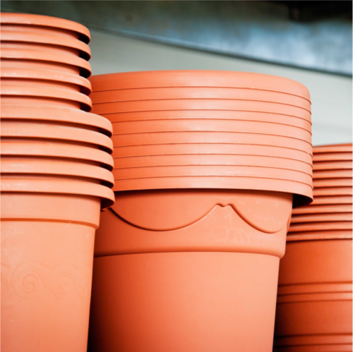 Stacks of Plastic Flower Pots