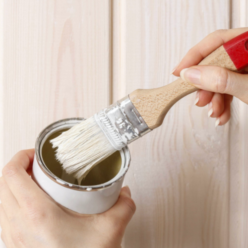 Woman Painting Wainscoting White