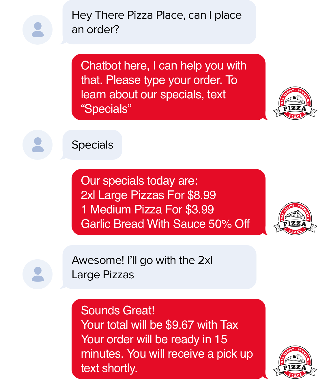 customers can place orders via text messages such as their favorite pizza!