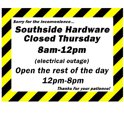Temporarily Closed Electrical Power Outage