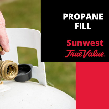Buy a spare propane tank so always have a full back-up tank. This will ensure that you never run out of gas while grilling that perfect steak. When it's time exchange your empty tank at Sunwest True Value!