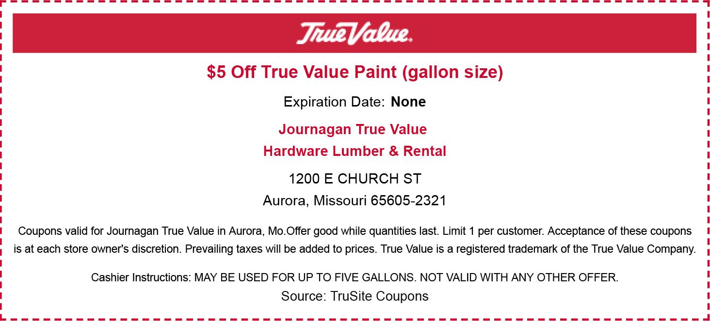 $5 Off True Value Paint (gallon size)