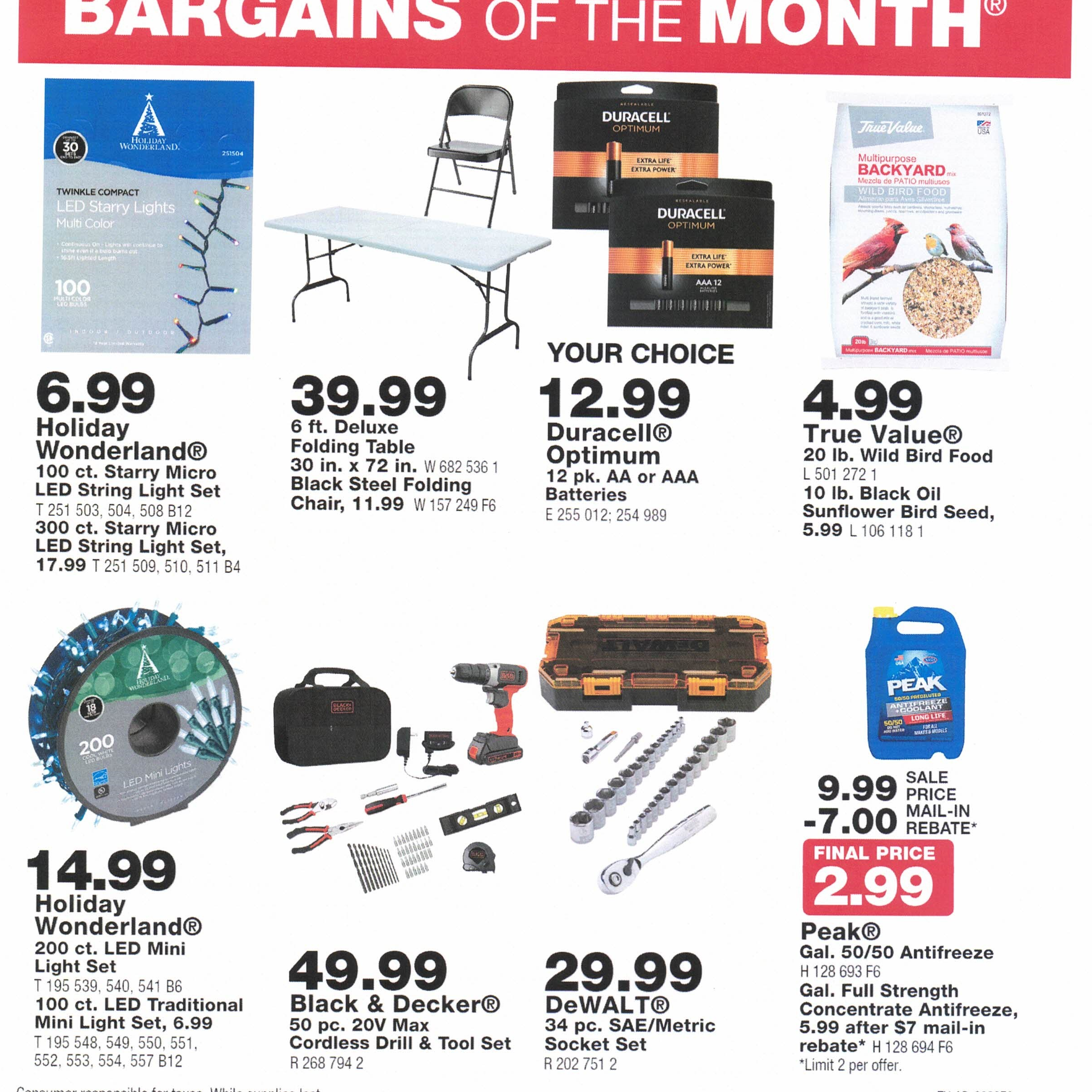 NOVEMBER BARGAIN OF THE MONTH