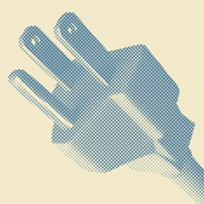 Half-tone image of male end of extension cord