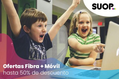 Suop lanza nuevas ofertas de fibra + móvil con un 50% de descuento