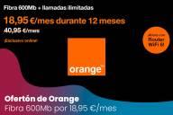 Ofertón de Orange: Fibra 600Mb con llamadas ilimitadas por 18,95€